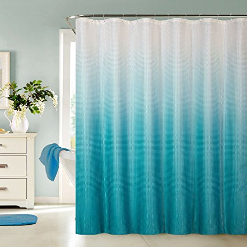 13 Piece Ombre Waffle Fabric Weave Shower Curtain With A Matching 12 Pc Metal Roller Ball Shower Curtain Hooks  Aqua