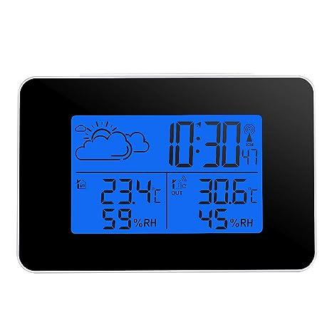 ALLOMN Pronóstico del Tiempo,Estación Meteorológica Interior/Exterior con Pantalla LCD y Sensor Inalámbrico
