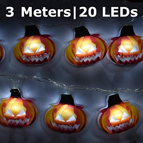 AIRERA Halloween Decorations, 3 Meters 20 LED String Lights, Waterproofed Spooky 2D Pumpkin Lantern, AA Battery Powered Lamps for Indoor Outdoor for Halloween Party Decor(White Cold Light