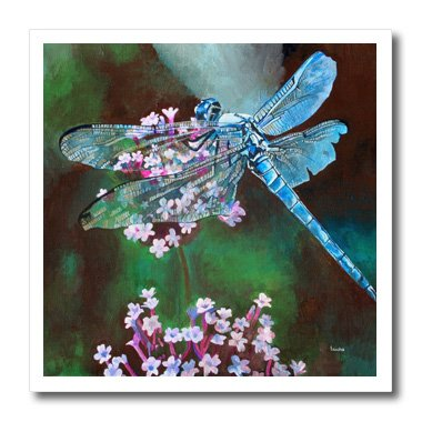 3dRose ht_128365_3 Blue Dragonfly, Blue Body and Irri Wou...