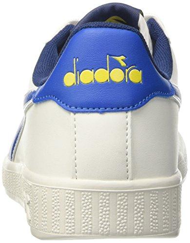 Diadora Game P, Zapatilla de Deporte Baja del Cuello Unisex Adulto, Blanco, 38 EU Blanco (Bco/blu Micro/giallo Vibrante)