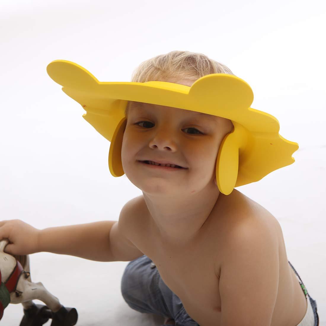 Blue+Pink+Yellow Infants Soft Protection Funny Safety Visor Cap for Toddler Children Baby Shampoo Shower Bathing Cap Adjustable Shower Cap Kids