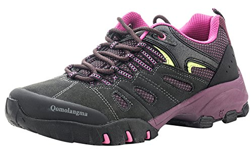 Sneakers Hiking Resistant Grey Slip Trail Outdoor Purple QOMOLANGMA Suede Women's Walking Shoes Trekking Shoes qwaF0