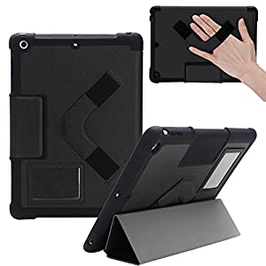 SHOCKPROOF BEST NEW 2017 iPad 5th Gen Black Slim Apple Designer Case for Kids & Adults / Heavy Duty Rugged Protective Folio Great For Girls & Boys | Also models ipad Air, 9.7 inch Pro, 1,2,3,4 & mini