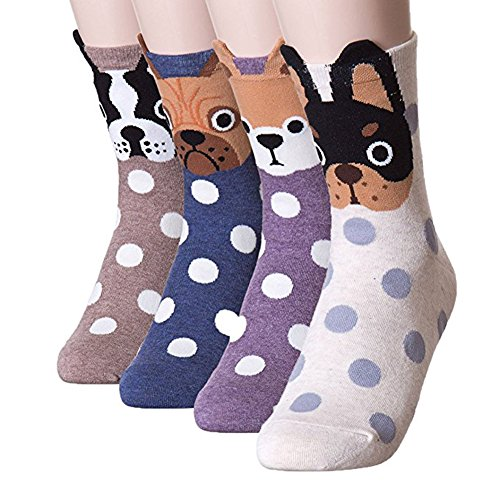 Womens Girls Best Socks Collection - Novelty Cute Lovely Animal Character Design Patterned, Perfect Secret Santa Present - Good for Gift Under $20 - One Size Fits All (Ear Cuff Puppies) ()