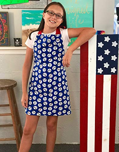 Handmade Girls Red and Blue Panda Apron Gift for Crafts Art or Kitchen from Sara Sews, Inc.