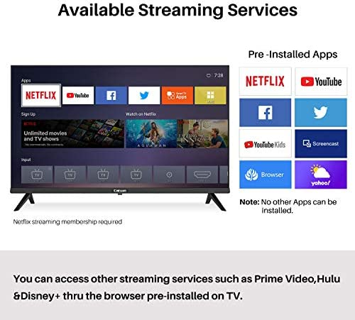 Caixun 32 Inch TV 720p Smart LED TV-C32 High Resolution Television Built-in HDMI, USB – Support Screen Cast Mirroring (2020 Model) 51 3uo3IOiL