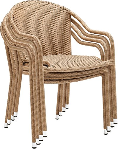 Crosley Furniture CO7109-LB Palm Harbor Outdoor Wicker Stackable Chairs (Set of 4) – Light Brown