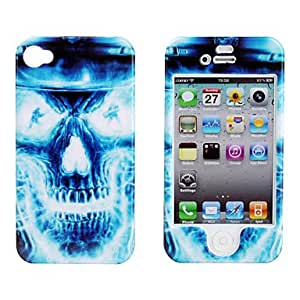 YXF Protective Smooth Polycarbonate Front and Back Case for iPhone 4 and iPhone 4S (Ice Skull)