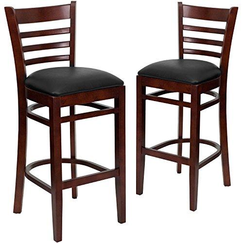 Contemporary Mahogany Bar Stool - Flash Furniture 2 Pk. HERCULES Series Ladder Back Mahogany Wood Restaurant Barstool - Black Vinyl Seat