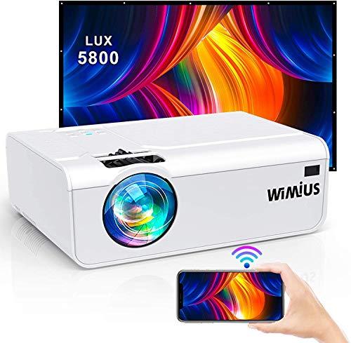 Proyector WiFi, 6000 Lúmenes WiMiUS Proyector WiFi Portátil Full HD Soporta 1080P Mini Proyector 720P Nativo 80000 Horas…