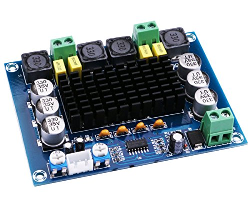 Audio Amplifier Board, Yeeco Dual Channel 120W+120W Digital Power Amplifier Board DC 12-26V 20V 24V Car Audio Stereo AMP Module with XH2.54-3 Pin Audio Input, DIY Sound System Component (Amp Board)