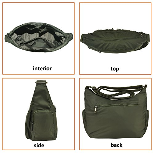 Travel 8981 Purse Pocket Nylon Women army body Corss For Waterproof Handbags Volcanic Bag Multi Shoulder Rock Green 1w6qwv0A