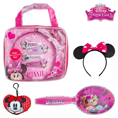 Price comparison product image Minnie Mouse Ears Headband Hair Accessories in Convenient Carry Case and Bonus Keychain with Glitter Hairbrush