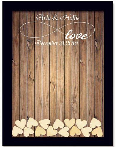 - Tamengi Personalized Wedding Guest Book,Custom Name & Date Infinite Love Guestbook Alternative Wood Drop Top Frame Wedding Guest Book Box Rustic Unique 150Pcs Hearts Decor