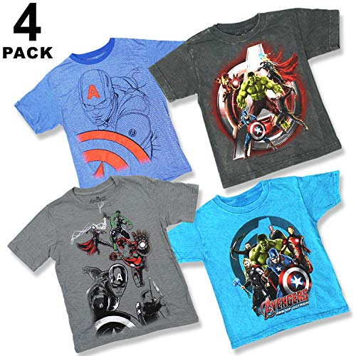 Marvel Comics Boys Youth Super Heroes 4 Pack T-Shirt Bundle Avengers Captain America Iron Man Thor Hulk
