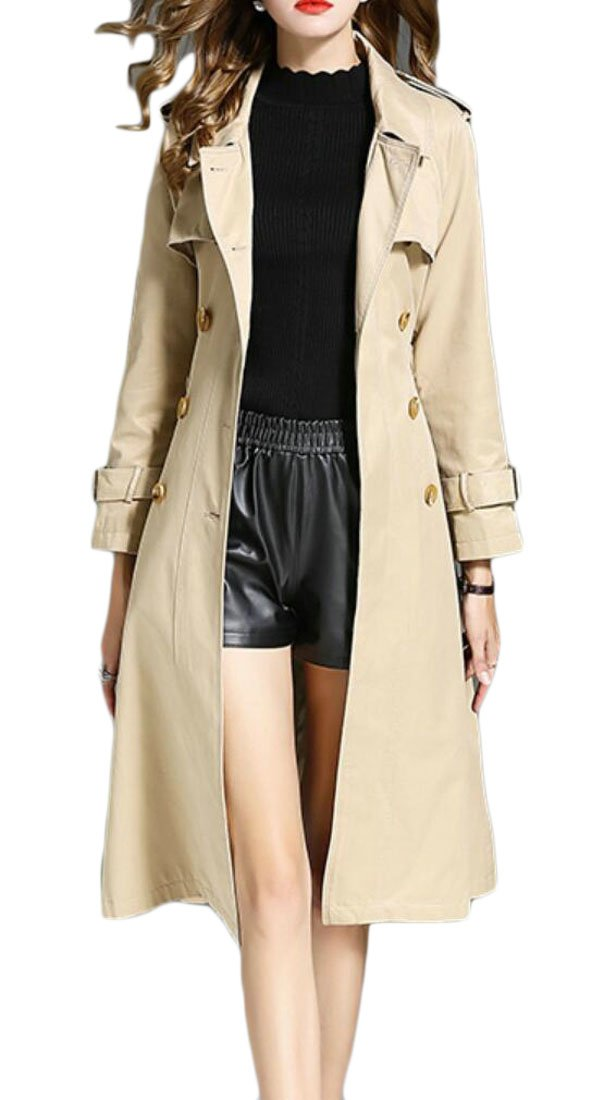 ouxiuli Women's Autumn British Style Elegant Jacket Double Breasted Slim Long Trench Coat Khaki S