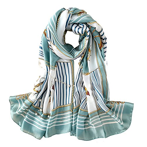 (100% Silk Scarf - Women's Fashion Large Sunscreen Shawls Wraps - Lightweight Floral Pattern Satin for Headscarf&Neck ((Ship's Anchor 02)))