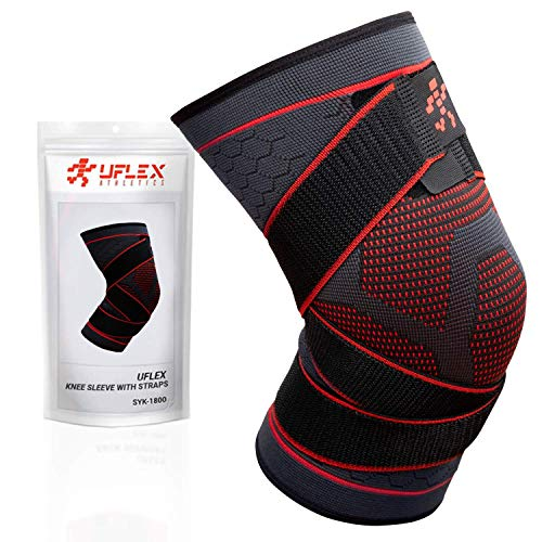 UFlex Athletics Knee Compression Brace for Men and Women – Non Slip Sleeve with Straps for Pain Relief, Meniscus Tear, Sports Safety in Basketball, Tennis – Single Wrap (Small)