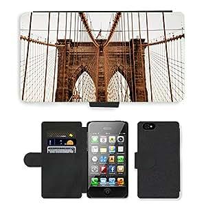 Hot Style Cell Phone Card Slot PU Leather Wallet Case // M00168946 Brooklyn Bridge New York Landmark // Apple iPhone 4 4S 4G
