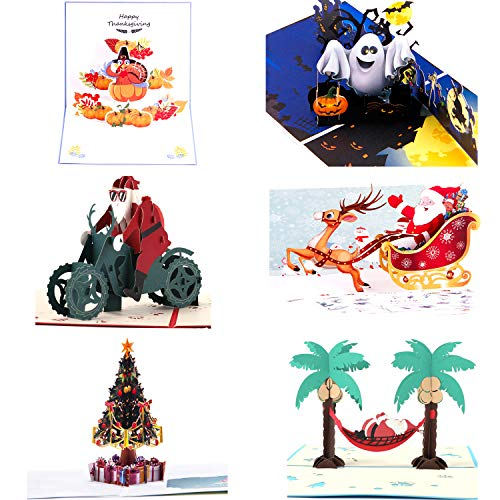 Paper Spiritz Pack of 6 Pop Up Christmas Card - 3D Card Holiday Card Halloween Thank You Christmas Card - 6 PCS Envelopes Included