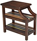 Cheap Ashley Furniture Signature Design – Mestler Casual Chair Side End Table – 2 Slotted Multi-Color Shelves – Rustic Brown