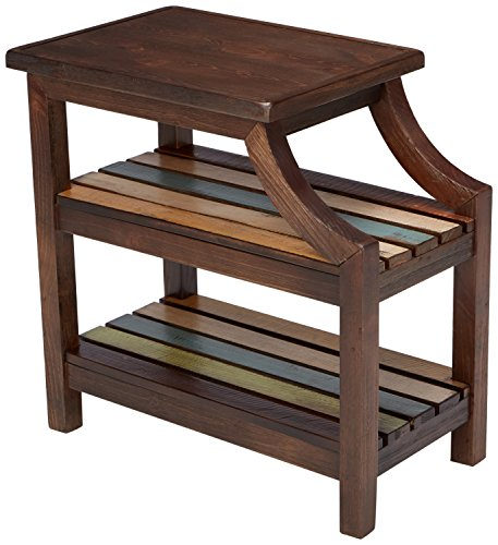 - Ashley Furniture Signature Design - Mestler Casual Chair Side End Table - 2 Slotted Multi-Color Shelves - Rustic Brown