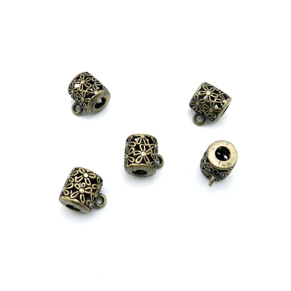 Price per 220 Pieces Antique Bronze Tone Jewelry Charms Findings Arts Crafts Beading Making Charmes G7IZ2C Flower Bails Cord Ends