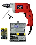 Inditrust 450W Electric Drill Machine with 13-Pieces HSS, 10mm Masonry Bit and 41 Pieces Tool Kit Screwdriver and Socket Set (Blue, IND98)