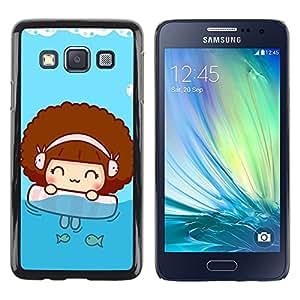 TopCaseStore / la caja del caucho duro de la cubierta de protección de la piel - Cute Beach Girl - Samsung Galaxy A3 SM-A300