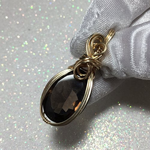 Smokey Quartz Pendant 14K gold gf Faceted Pear Cut w/ necklace 18ct g2-1 (Faceted Cut Pear)