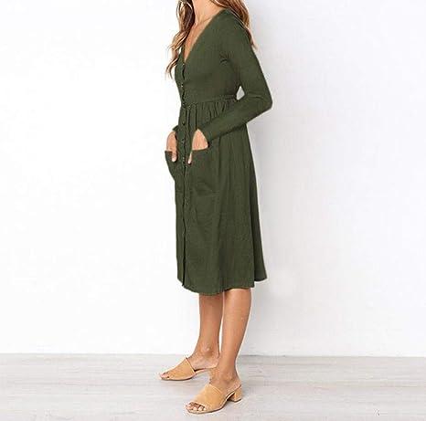 Kleid Lang Damen Sommerkleid Casual Drucken Minikleid TrompetenäRmeln Kleider  Elegant Tunikakleid Partykleid (Armeegrün, XXL)  Amazon.de  Bekleidung babdd6adbb