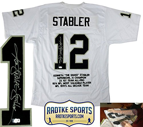 Ken Stabler Autographed/Signed Oakland White Custom Jersey with