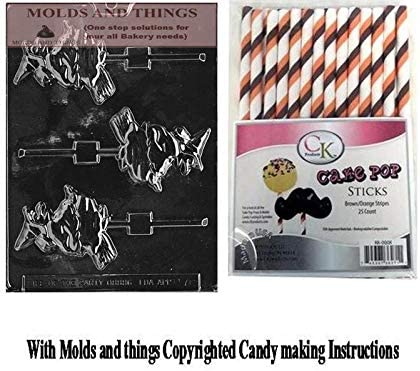 Moulds Halloween Pumpkin Witch Chocolate Lollipop Kit Including Lollipop Sticks