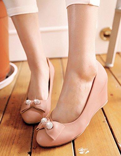 Aisun Womens Sweet Round Toe Low Cut Dress Medium Heels Slip On Wedge Pumps Shoes With Bows Pink 5ByIlZJf3U