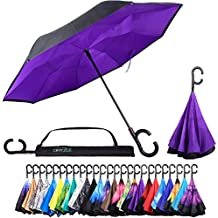 Reverse Inverted Inside Out Umbrella - Upside Down UV Protection Unique Windproof Brella That Open Better Than Most Umbrellas, Reversible Folding Double Layer, Suitable for Golf, Car, Women and Men