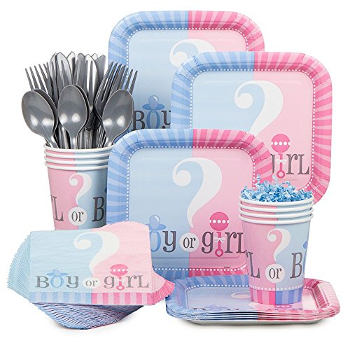 Baby Gender Reveal Partyware Kit, Blue & Pink, Includes 20 Plates, 24 Napkins, 24 Cups, & 18 Piece Cutlery Set]()
