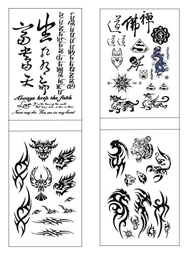 SHINA 4pc Man Domineering Totem Wolf Head,Flower Arm Tattoos,English,Sanskrit Chinese Characters Tattoo Stickers ()
