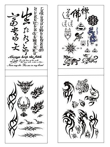 SHINA 4pc Man Domineering Totem Wolf Head,Flower Arm Tattoos,English,Sanskrit Chinese Characters Tattoo (Chinese Tattoo)
