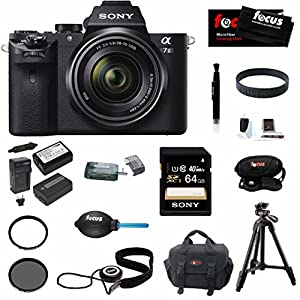 Sony Alpha a7II Interchangeable Digital Lens Camera w/ 28-70mm Lens plus 64GB Deluxe Accessory Bundle