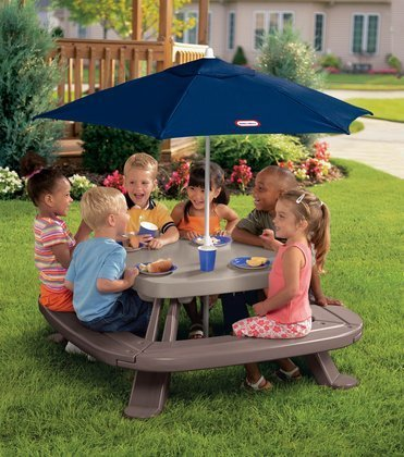 Fold N Store Picnic Table Umbrella - MGA Entertainment Little Tikes: Fold 'n Store Table with Umbrella