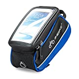 "INBIKE Bike Bag Handlebar Touch Screen Phone Case Waterproof for IPhone 6s Plus Galaxy Cycling Running Riding Blue 5.3"""