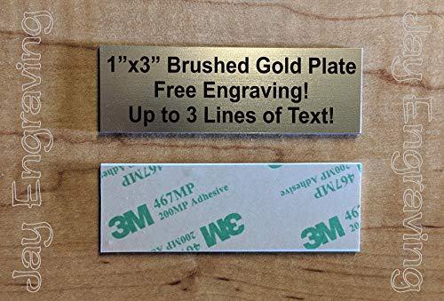 Custom Engraved 1x3 Plate | Name Tag Sign Placard | Badge with Adhesive | Engraving Trophy Plaque Urn Keepsake Loving Personalized Small Business Home Office Wall Door Plaque (Gold)