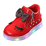 Anglewolf Children Colorful Light Shoes Toddler Infant Baby Boys Girls Star Luminous Boots Up Led Sneaker Kids Athletic Soft Outdoor Sport Sneakers(Red,8 UK)