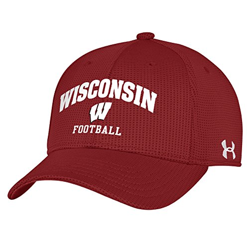 Wisconsin Badgers Under Armour Blitzing Unstructured Football Red Adjustable Hat / Cap