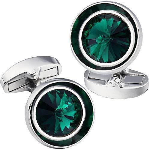 - HAWSON Cufflinks for Men-Fashion Silver Color with Emerald Swarovski Crystal Men French Shirt Cufflinks for Regular Weeding Business