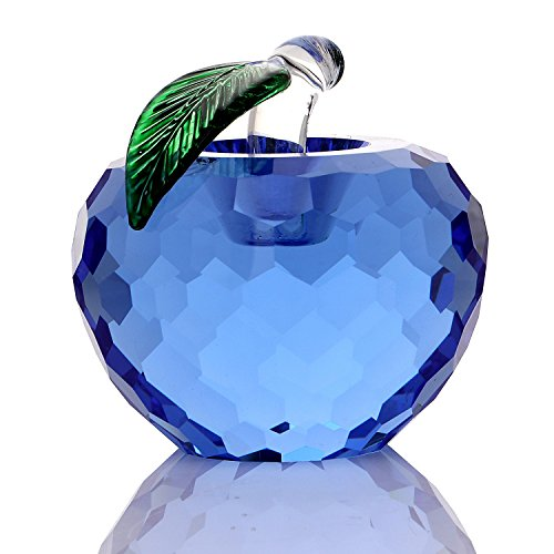 THREE FISH CRYSTAL 60mm (2.4 inch) Crystal Apple Figurines Paperweight,Glass Apple Sculpture Figurines,Christmas Apple Gift,Glass Art Craft for Home Decoration. (Blue)