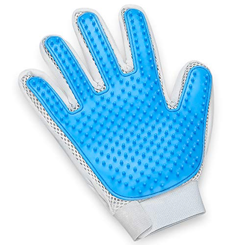 Pet Hair Remover Glove - Gentle Pet Grooming Glove Brush - Deshedding Glove - Massage Mitt with Enhanced Five Finger Design - Perfect for Dogs & Cats with Long & Short Fur - 1 Pack (2 in 1 Glove)