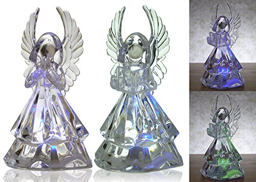 LED Angel Figurines - Set of 2 Clear Acrylic Color Changing LED Angels - One Holding Hymnal & One Praying - Each is 7