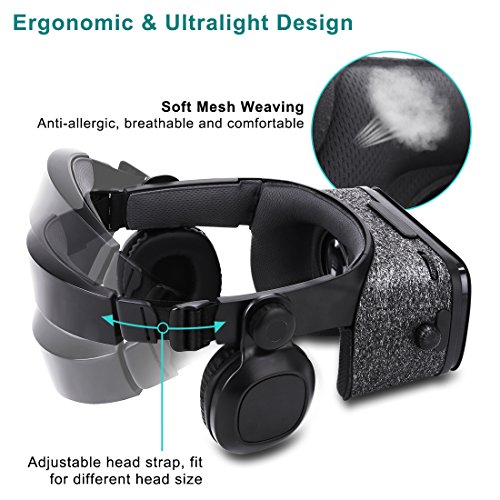 Ultralight Virtual Reality Headset with Stereo Headphones, 3D VR Glasses for VR games & 3D Movies, Comfortable & Immersive Experience VR Goggles for 4.7 - 6 inch IOS/Android Smartphones by geek-2016 (Image #5)